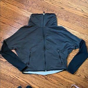 Nike dri fit cropped black and gray sweatshirt zip